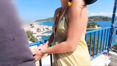 German married woman screwed in the butt on balcony in vacation in Greece